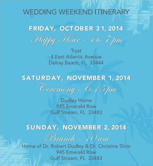 Wedding Weekend Itinerary Template Sample Wedding Weekend Itinerary Template 12 Documents