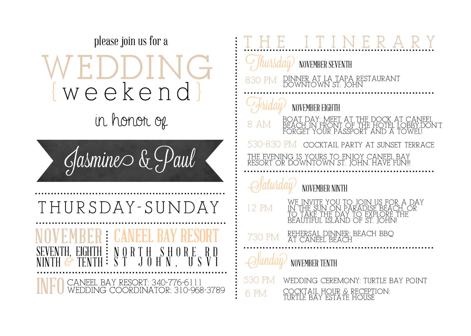 Wedding Weekend Itinerary Template Sugar Queens Custom Wedding Wel E Cards