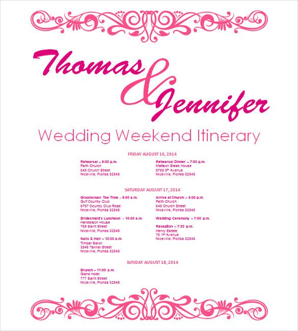 Wedding Itinerary Template 11 Free Word PDF Documents