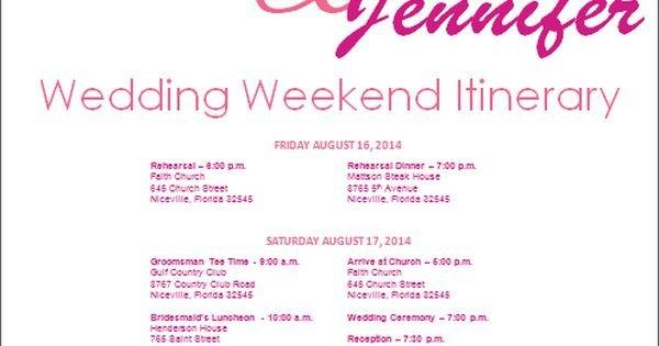 Wedding Weekend Itinerary Template Wedding Itinerary Wedding Itinerary Template Bridetodo