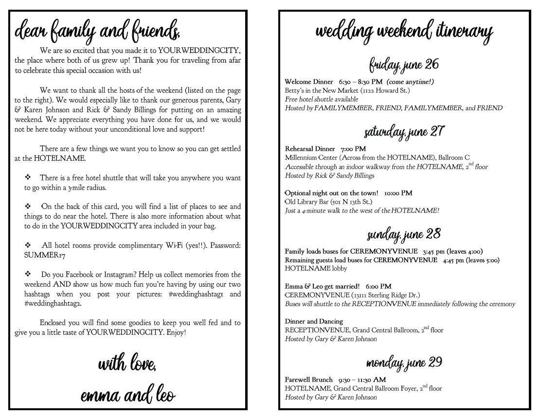 Wedding Weekend Itinerary Template Wedding Weekend Diy Itinerary Schedule Template by