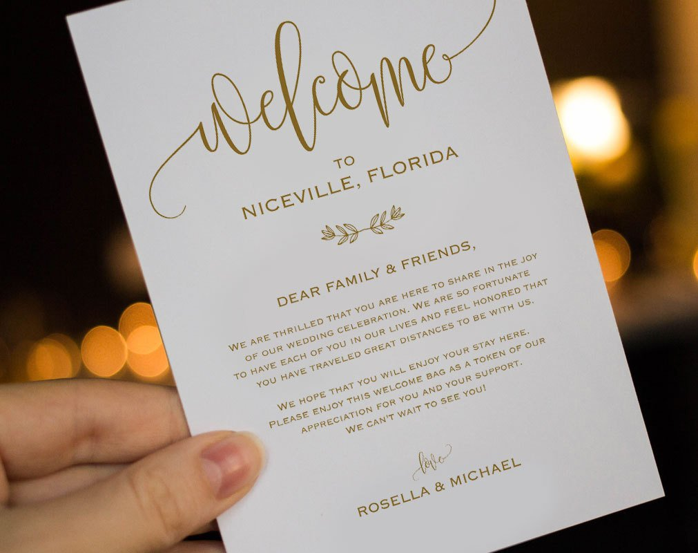 Wedding Welcome Letter Template Gold Wedding Wel E Bag Note Wel E Bag Letter Wedding
