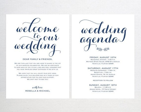 Wedding Welcome Letter Template Navy Blue Wedding Wel E Bag Note Wel E Bag Letter
