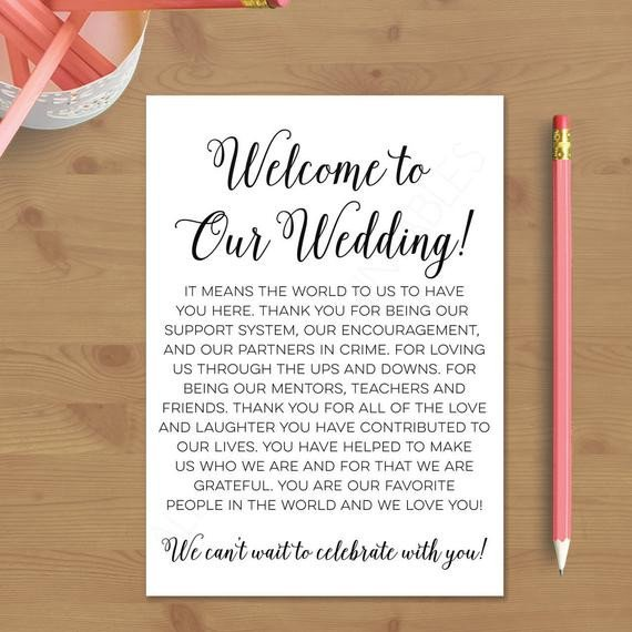Wedding Welcome Letter Template Printable Wedding Wel E Letter Instant by