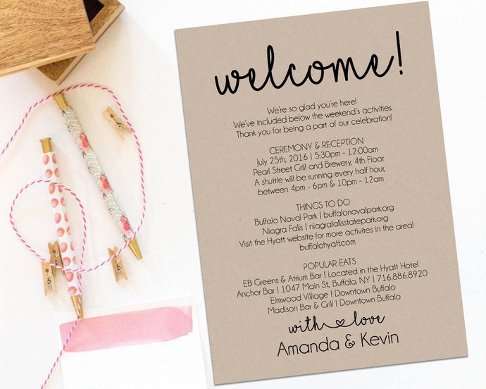 Wedding Welcome Letter Template Wel E Letter Wedding Itinerary Printable by