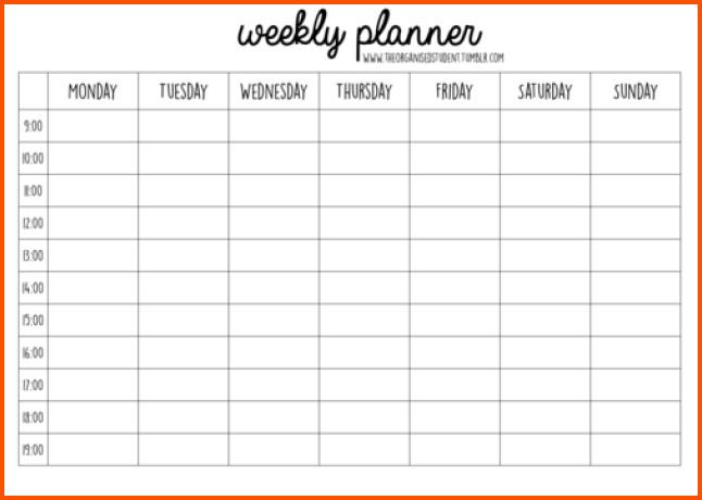 Week Planner Template Word 11 Weekly Planner Template Word
