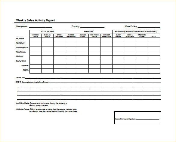 Weekly Activities Report Template 19 Sales Activity Report Templates Word Excel Pdf
