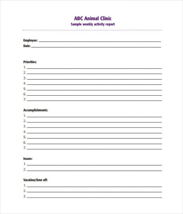Weekly Activities Report Template 20 Sample Weekly Activity Reports Pdf Word Apple