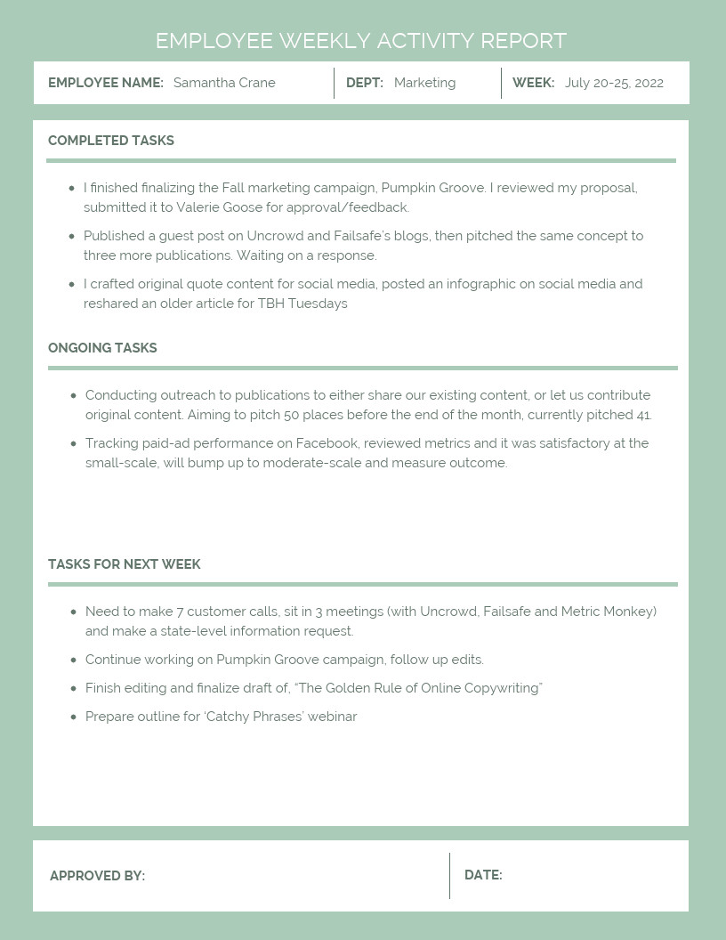 Weekly Activities Report Template 30 Business Report Templates that Every Business Needs