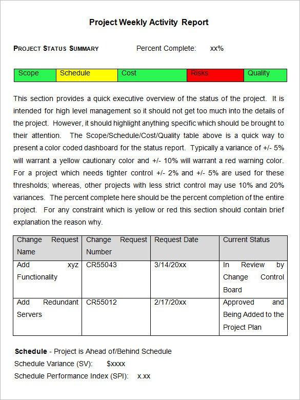 Weekly Activities Report Template Weekly Activity Report Template – 23 Free Word Excel