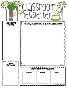 Weekly Classroom Newsletter Template Classroom Newsletter Classroom and Newsletter Templates