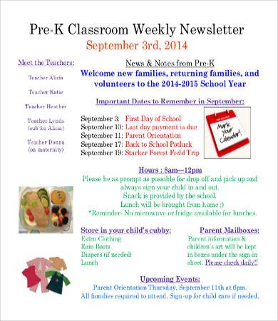 Weekly Classroom Newsletter Template Classroom Newsletter Template 9 Free Word Pdf