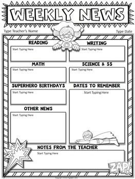 Weekly Classroom Newsletter Template Free Superhero Editable Newsletter Template