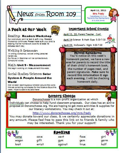 Weekly Classroom Newsletter Template Primary Inspired Newsletter Linky Party