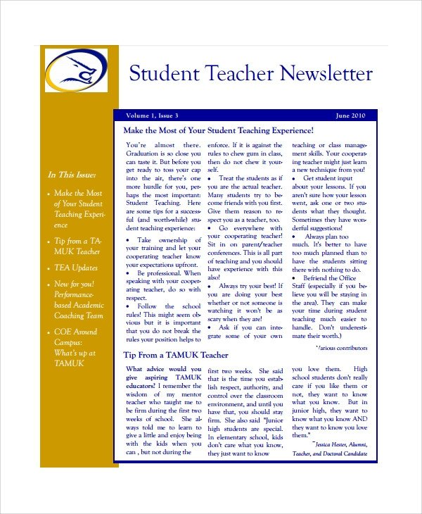 Weekly Classroom Newsletter Template Sample Teacher Newsletter Template 6 Free Documents