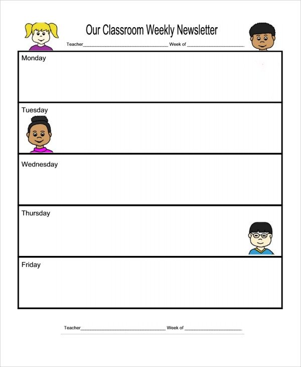 Weekly Classroom Newsletter Template Sample Weekly Newsletter Template 9 Free Documents
