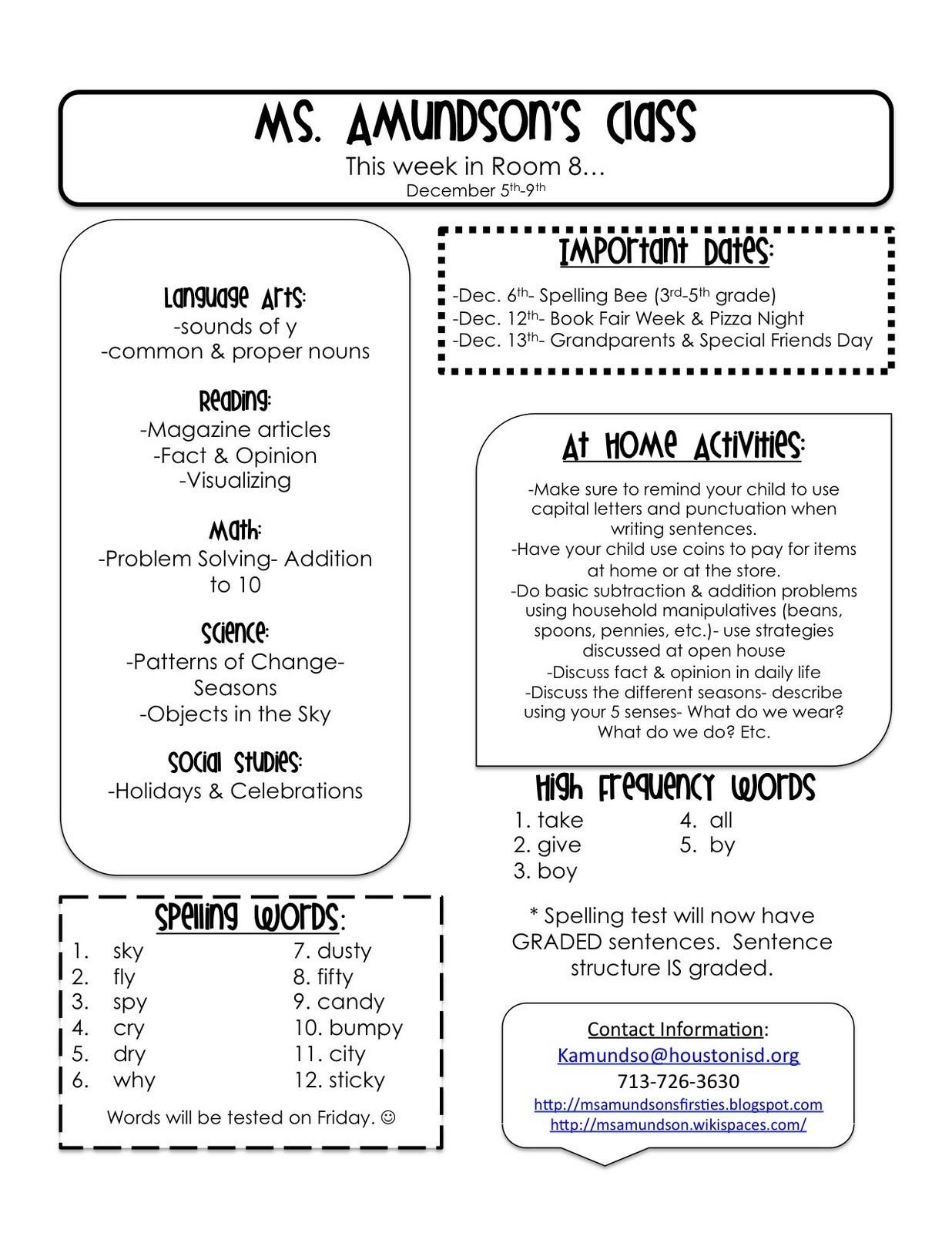 Weekly Classroom Newsletter Template Weekly Newsletter Templates for Teachers