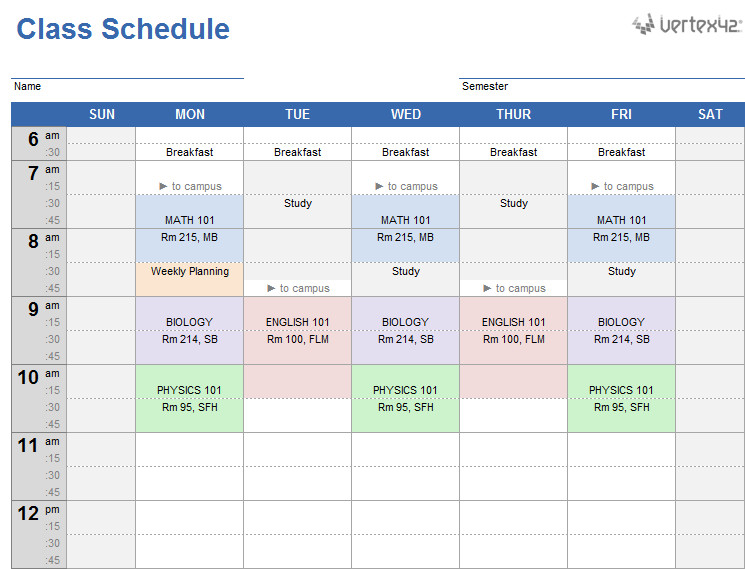 Weekly College Schedule Template College Class Schedule Template