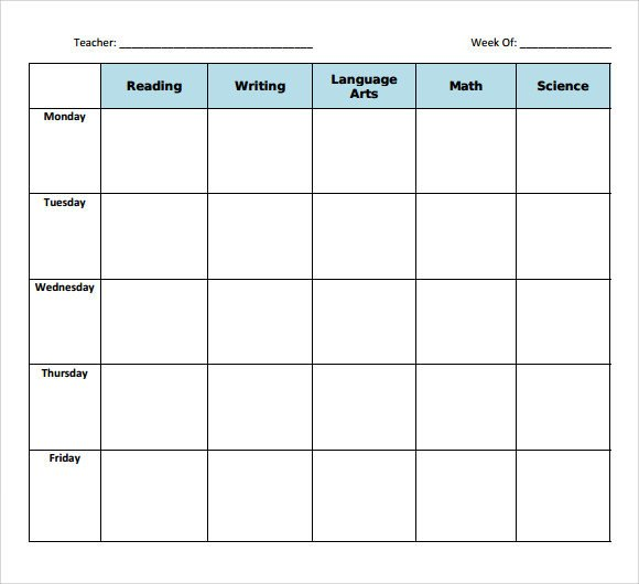 Weekly Lesson Plan Template Sample Blank Lesson Plan 10 Documents In Pdf