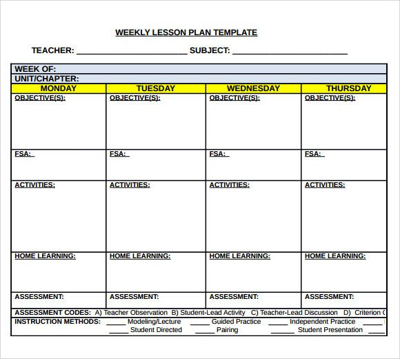 Weekly Lesson Plan Template Sample Middle School Lesson Plan Template 7 Free