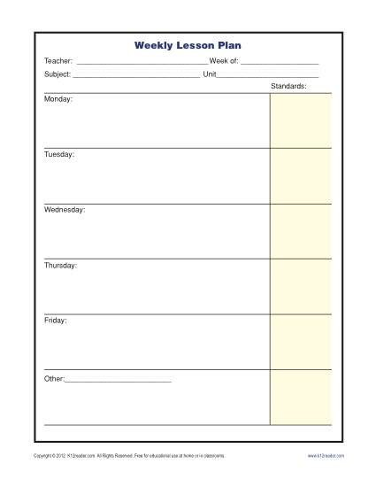 Weekly Lesson Plan Template Weekly Lesson Plan Template with Standards Elementary