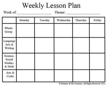 Weekly Lesson Plan Template Weekly Preschool Lesson Plan Template Pre K