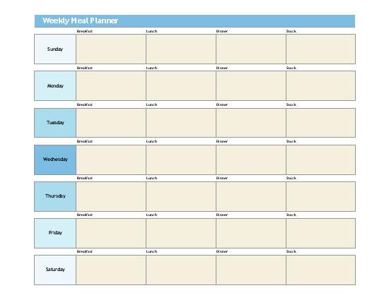 Weekly Meal Planner Template Excel Simple Meal Planner
