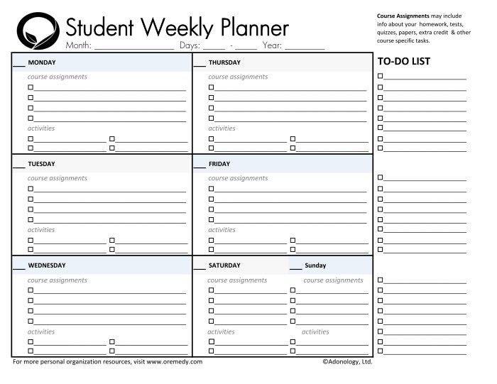Weekly School Planner Template Day Planner Printable