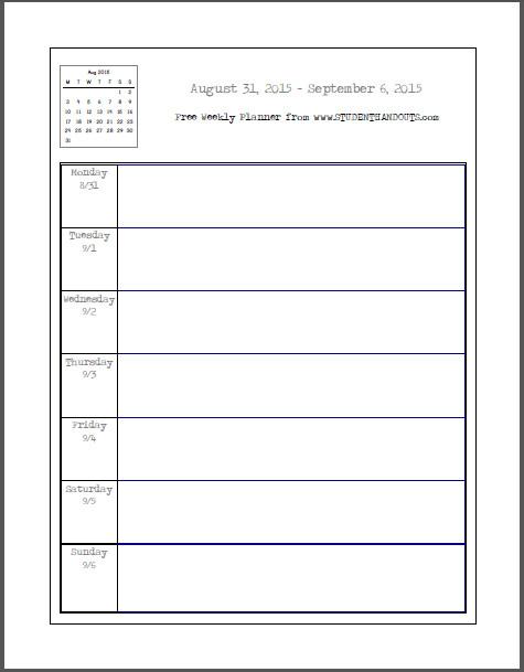 Weekly School Planner Template Free Blank Printable Weekly School Planner