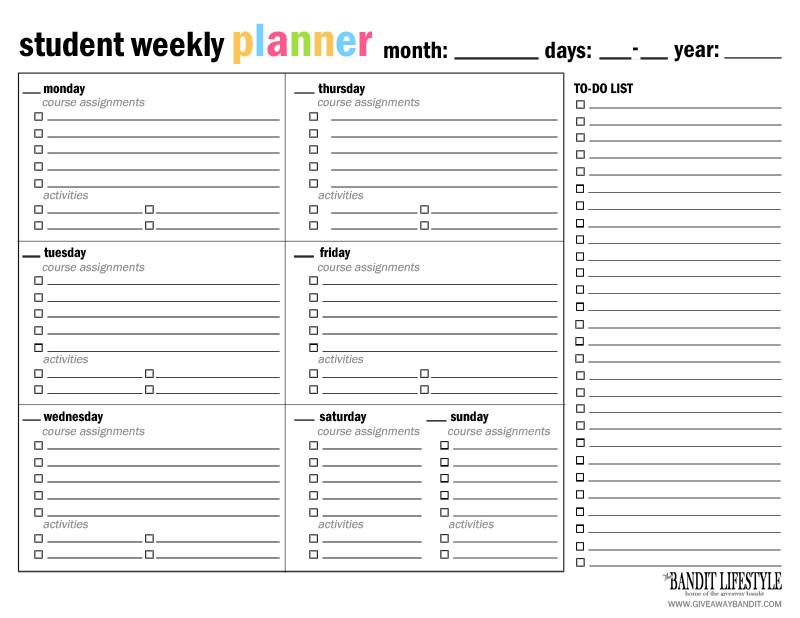 Weekly School Planner Template Printable Student Planner Binder the Bandit Lifestyle