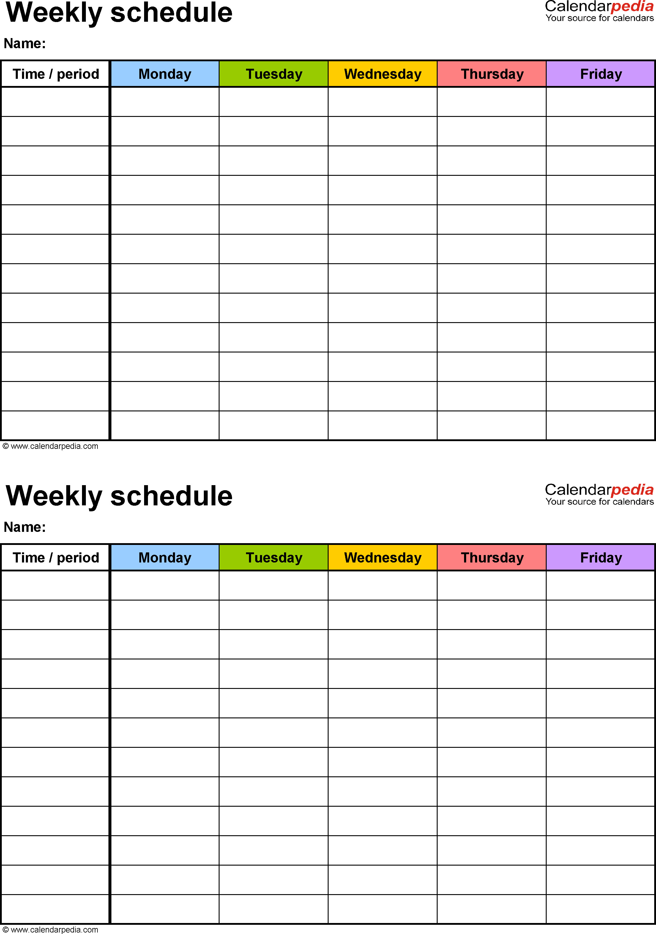 Weekly School Planner Template Weekly Schedule Template for Excel Version 3 2 Schedules
