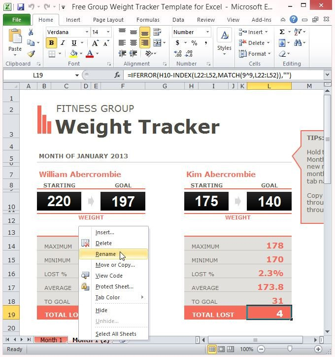 Weight Loss Tracker Template Free Group Weight Tracker Template for Excel