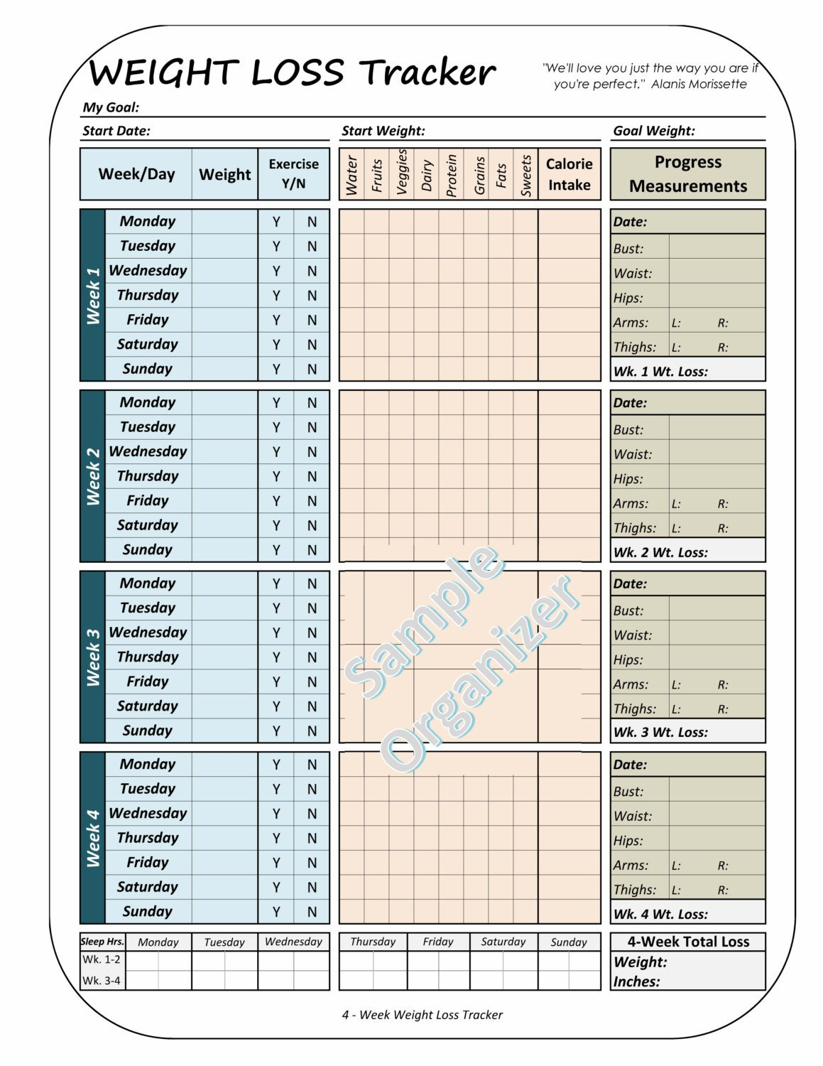 Weight Loss Tracker Template Weight Loss Tracker Printable Weight Loss Planner 4 Week