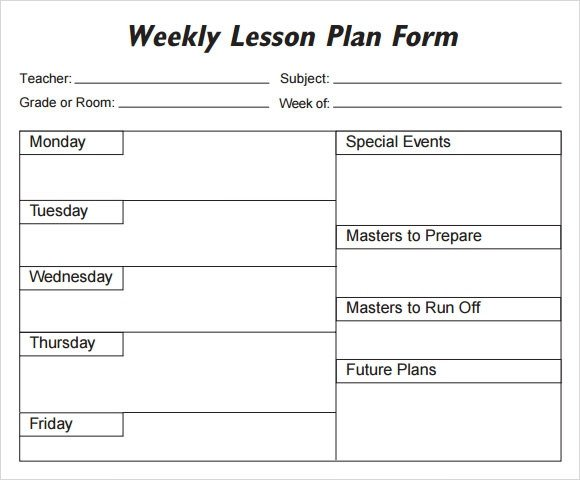 Word Lesson Plan Template Weekly Lesson Plan 8 Free Download for Word Excel Pdf