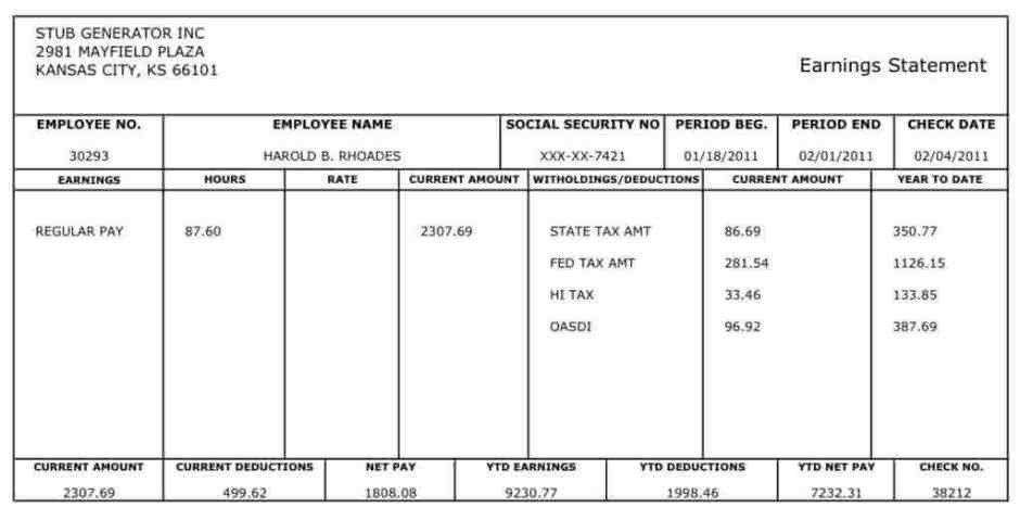 Word Pay Stub Template 10 Pay Stub Templates Word Excel Pdf formats