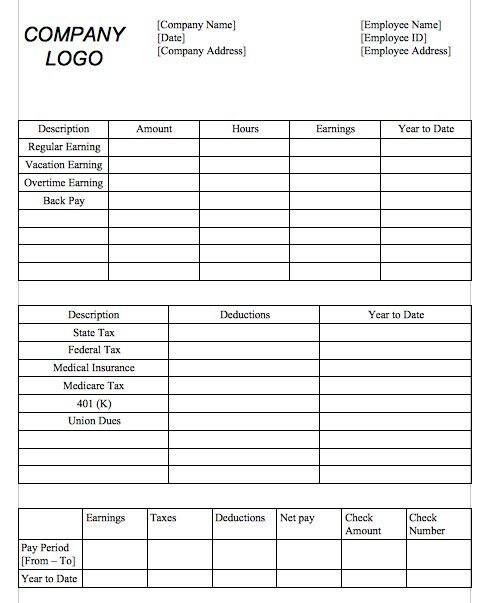 Word Pay Stub Template 25 Great Pay Stub Paycheck Stub Templates