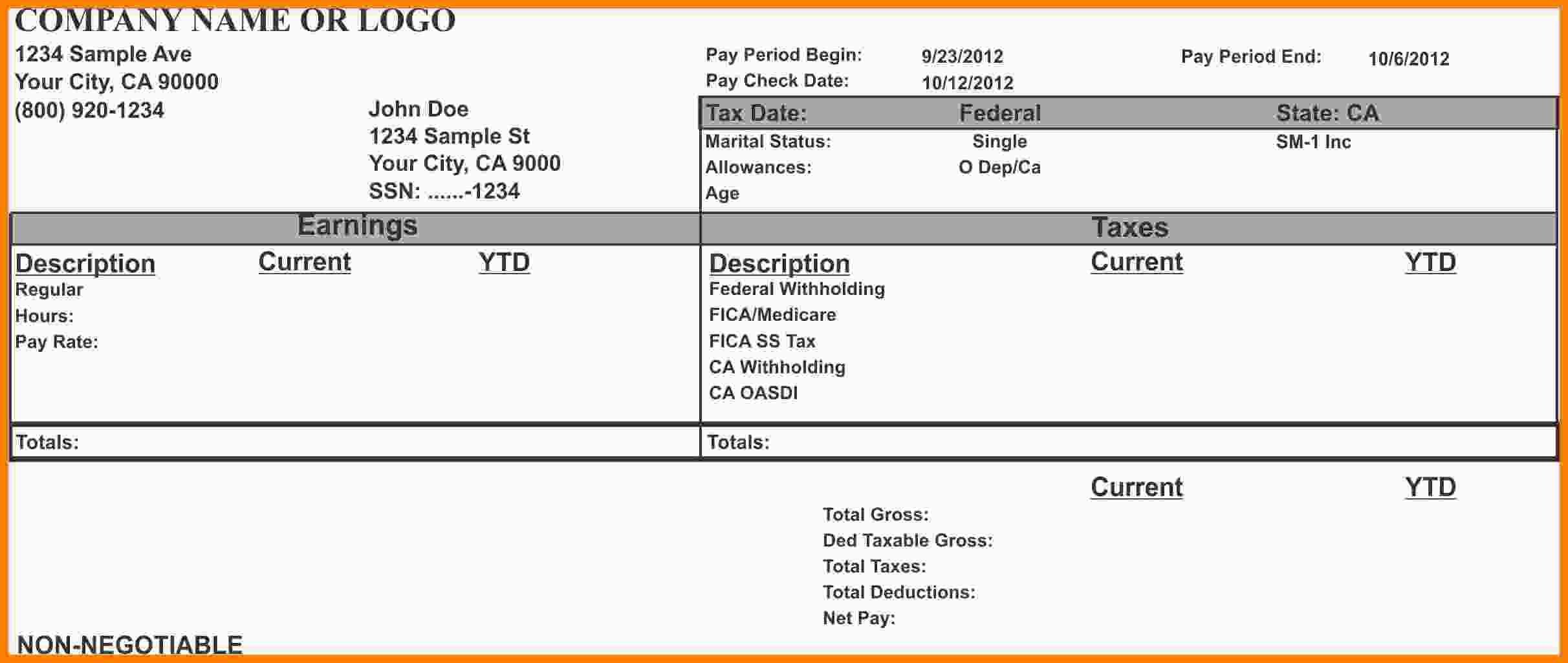 Word Pay Stub Template 8 Pay Stub Template Microsoft Word
