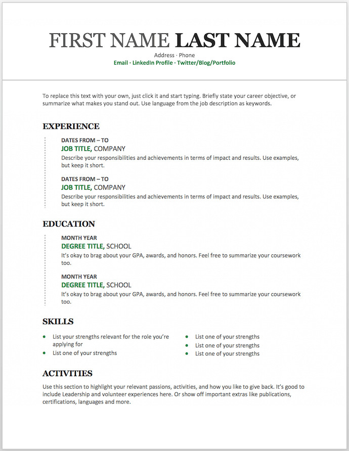 Word Resume Template Download 11 Free Resume Templates You Can Customize In Microsoft Word