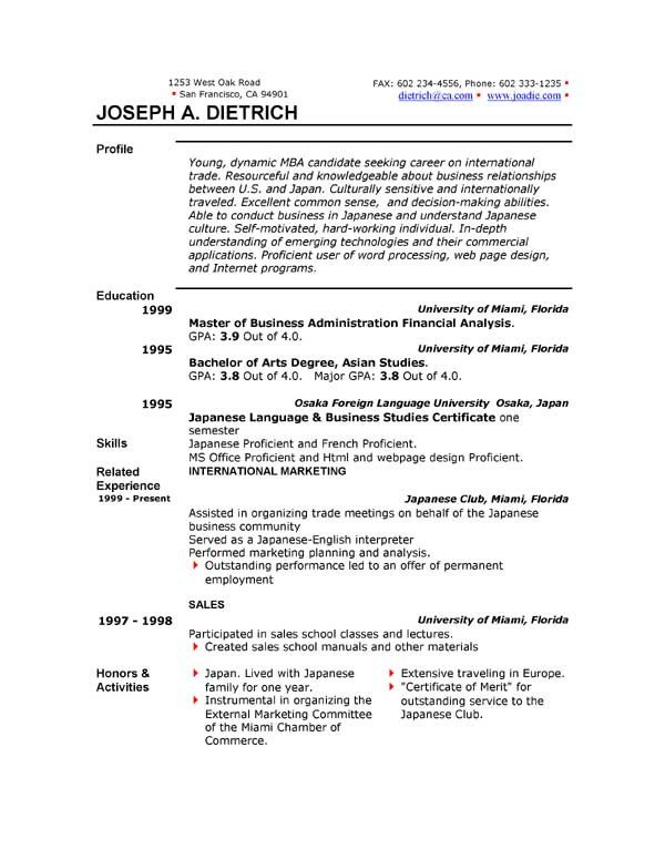 Word Resume Template Download 85 Free Resume Templates