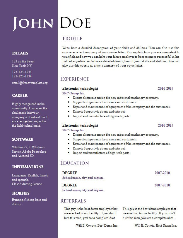 Word Resume Template Download Free Creative Resume Cv Template 547 to 553 – Free Cv