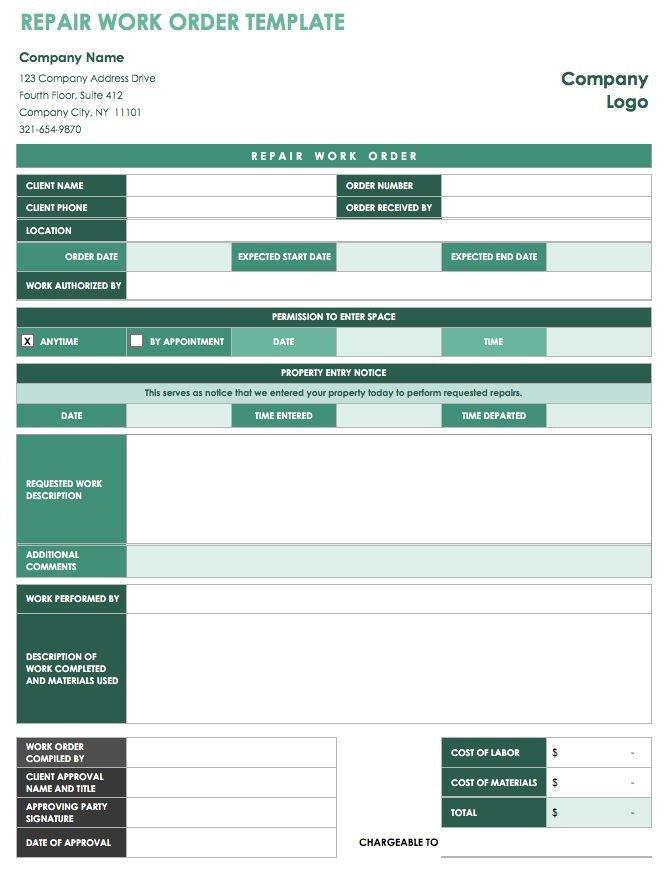 Work order Log Template 15 Free Work order Templates