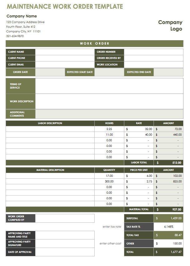 Work order Log Template 18 Free Property Management Templates