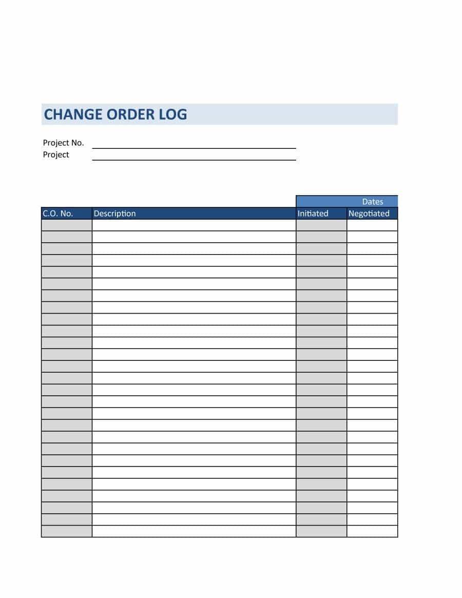 Work order Log Template 40 order form Templates [work order Change order More]