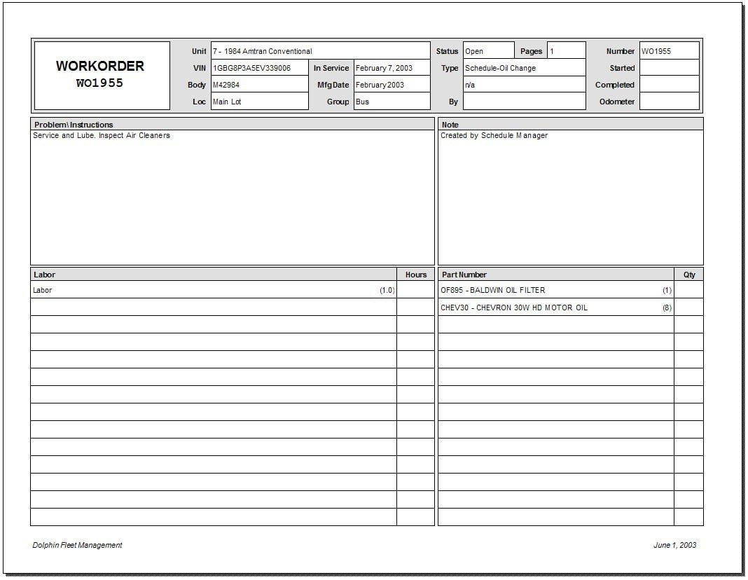 Work order Log Template 5 Work order Templates Free Sample Templates