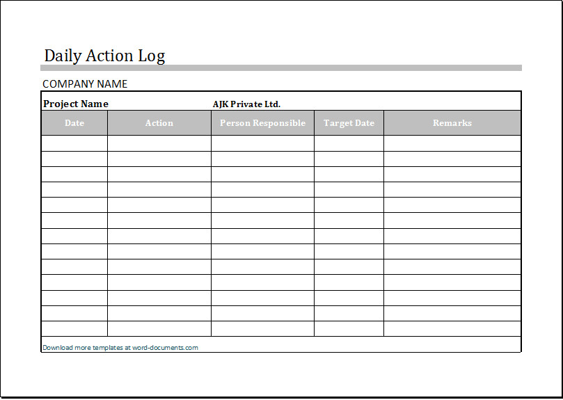 Work order Log Template Daily Log Template Excel – Printable Schedule Template