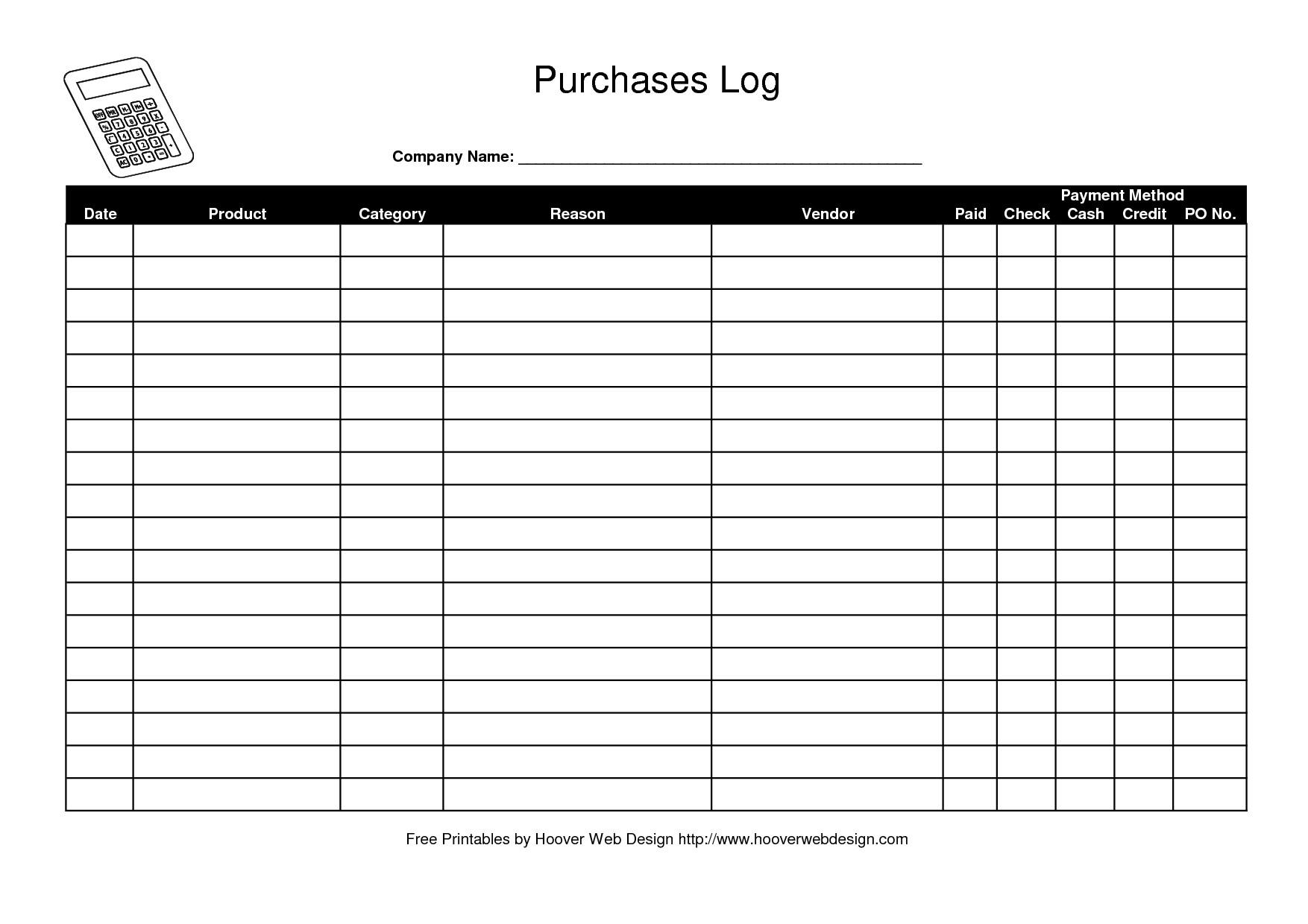 Work order Log Template Logging Templates Free