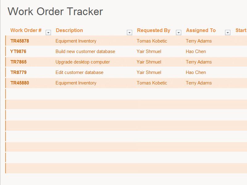 Work order Log Template Work order Log