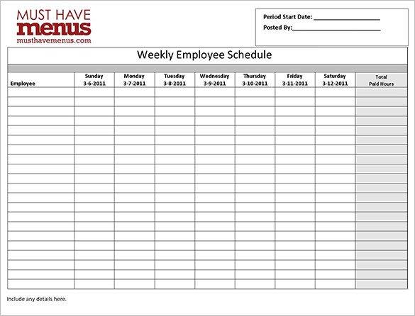 Employee Work Schedule Template 17 Free Word Excel
