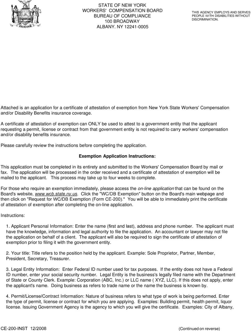 Workers Comp Waiver form Oklahoma Ce 200 Certificate Of attestation Of Exemption From New