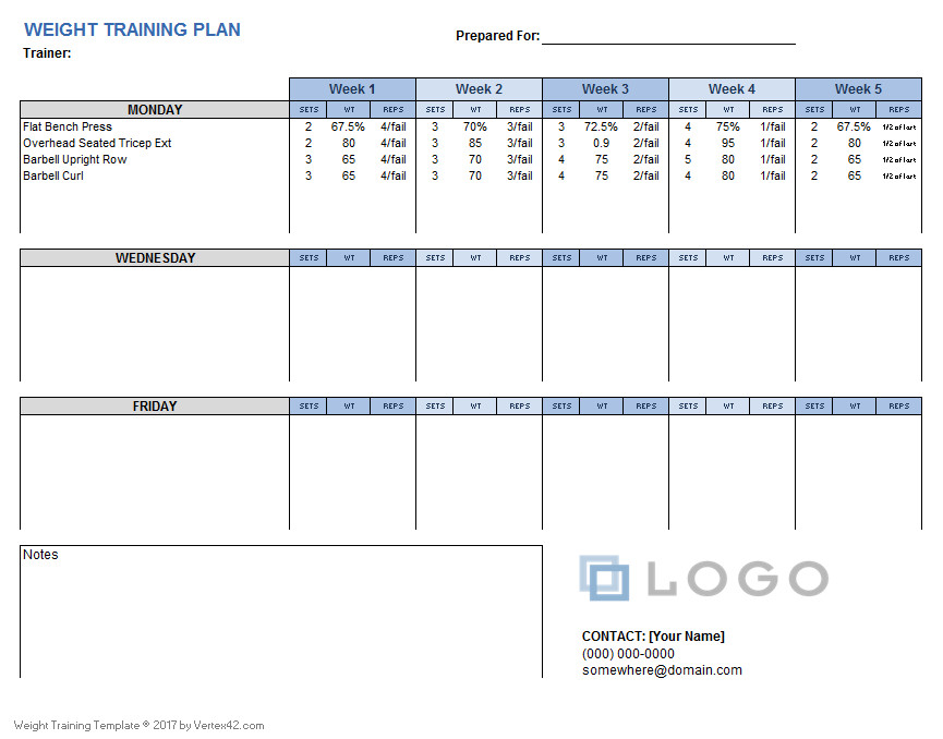 Workout Plan Template Excel Weight Training Plan Template for Excel
